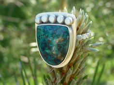 Shattuckite cabochon Sterling Silver Ring  Size 6 1/2
