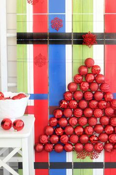 Mad for Plaid Ornament Display Make your own!  You can build it!  #DIHworkshop #spon