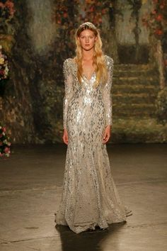 Jenny Packham silver sequined long-sleeve wedding dress