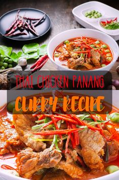 Creamy and Yummy! You can make this authentic Thai panang curry easily and quickly. It goes really well with rice and it's not too spicy. You can always alter the spiciness your self. Chicken Panang Recipe, Pork Curry Recipe, Panang Curry Recipe, Thai Curry Recipes, Spicy Chicken Recipes, Thai Chicken, Pork Recipes, Easy Recipes, Healthy Recipes