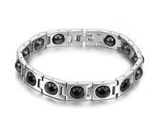 KATGI Limited Edition Brazil Hematite Steel Magnetic Energy Black Stone Therapy Beads Bracelet (For Men & Women)