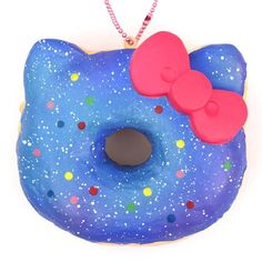 blue purple colorful dot Hello Kitty donut squishy charm 1
