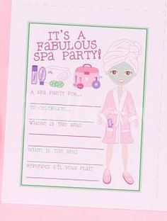 Love these fill-in spa party invitations