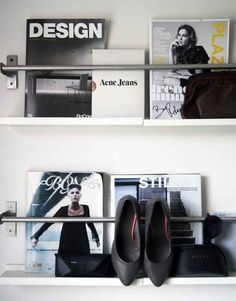 Grundtal rails are a sleek way to display magazines.
