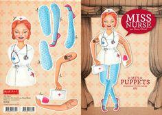 Fanny Cheval - Puppets http://www.blueart.fr/francais/carte-a-decouper-mes-puppetts-miss-nurse-par-fanny-cheval-14-8-x-21-cm.html