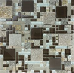 SAMPLE- Brown Gray Glass Natural Stone Pattern Mosaic Tile Kitchen Backsplash
