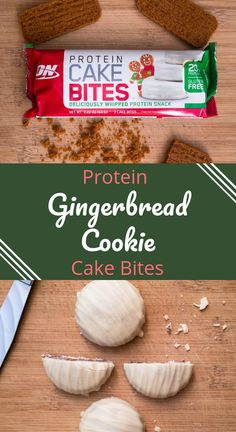 A healthy holiday snack or dessert. The best gingerbread cookie product that is also healthy. This is a great on the go breakfast, healthy snack, or protein dessert. One of the best protein bars you can buy. Low Sugar Protein Bars, Best Protein Bars, Protein Desserts, Protein Cookies, High Protein Recipes, Protein Snacks, Healthy Cookies, Healthy Snacks, Breakfast Healthy