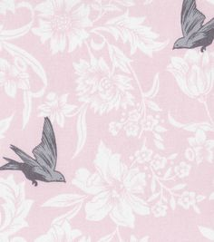 45'' Home Essentials Fabric- Bird Floral Pink