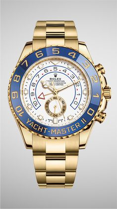 Rolex Yacht-Master II in 18ct yellow gold with a blue Cerachrom bezel and a white dial.