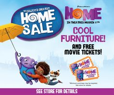 It's a Boov invasion! See the Galaxy's Greatest Home Sale going on now at Wayside Furniture and receive free movie passes with any minimum $1000 purchase. DreamWorks HOME invades theaters March 27th! Visit www.wayside-furniture.com!