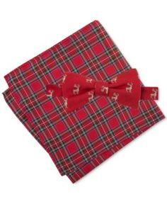 Tommy Hilfiger Men's Deer Print Bow Tie & Royal Stewart Pocket Square Set - Red
