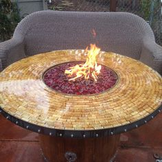 Custom cork top on the wine barrel fire pit