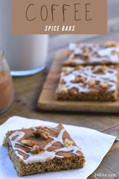Spice Coffee Bars are soft and crunchy when flavored with candied dates and walnuts. The coffee flavored glaze makes the ultimate combination. #24bite #cookiebarrecipes #cookierecipes Cappuccino Recipe, Latte Recipe, Espresso Recipes, Coffee Recipes, Coffee Deserts, Dessert Drinks, Desserts, Toffee Bars, Spiced Coffee
