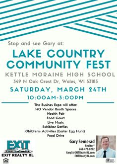 Join Gary Semerad with EXIT Realty XL this Saturday, March 24th, for Lake Country Community Fest in Whales! Family friendly with lots to do. Call Gary for more info or just show up anytime from 10:00am-3:00pm. 262-470-0272 Check us out: https://www.exitrealtyxl.com/ #ExitRealtyXL #LakeCountryCommunityFest #GarySemerad #HartlandChamberofCommerce