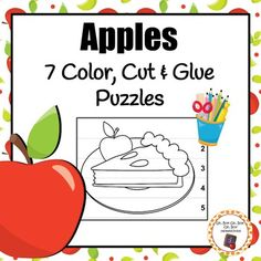 Add these festive puzzles to your apple, harvest, fruit or healthy food unit.My Apples Color, Cut and Glue set includes 7 puzzles.Preparation needed: Print.  Provide children with coloring utensils, scissors, glue and construction paper.Activity: Have students color the picture, cut out the puzzles stripes on the dashed line, and the glue the puzzle (in the correct order) onto the construction paper.***Be sure to take a look at my other apple activities!*** 30 Apple Pattern Cards9 Apple…
