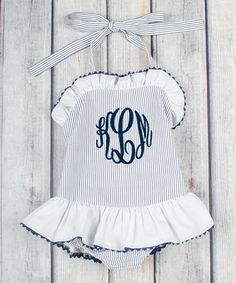 Look at this Navvy Stripe Monogrammed One-Piece - Infant, Toddler & Girls on #zulily today!