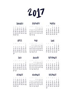 Free Printable Minimal 2017 Year At A Glance Calendar