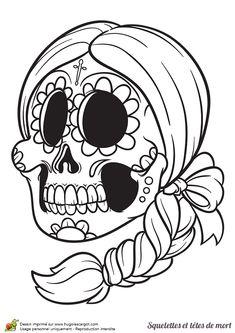 Tête de mort en sucre mexicaine à colorier
