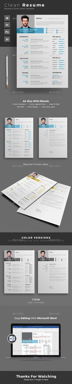 #Resume - Resumes #Stationery Download here:  https://graphicriver.net/item/resume/19289362?ref=alena994