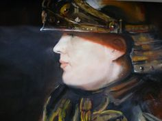 Coping a Rembrandt painting, Man in Armour' I have painted a portrait of my son in the armour instead of the person in the original.