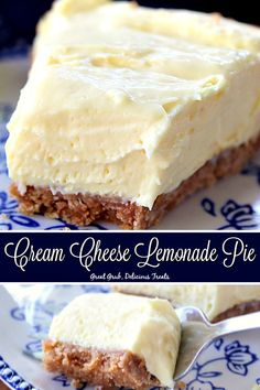This Cream Cheese Lemonade Pie is full of delicious lemony flavor and is super creamy and amazingly easy to make. A no-bake dessert that is to die for. desserts with cream cheese Cream Cheese Lemonade Pie - Great Grub, Delicious Treats Chocolate Desserts, Easy Desserts, Dessert Recipes, Homemade Desserts, Easy Delicious Desserts, Kinds Of Desserts, Dessert Healthy, Baking Desserts, Sweet Desserts