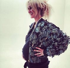 Zanna Rassi. Cutest and most stylish pregnant person ever! That jacket is amazing!