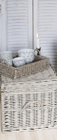 Why a Wicker Basket? Baskets On Wall, Wicker Baskets, Wicker Dresser, Basket Tray, Interior Color Schemes, Rattan Furniture, White Decor, Cottage Style, Sweet Home