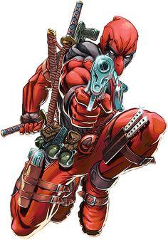 Deadpool carrying an arsenal