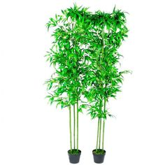 #Bamboo #Plant #Artificial #Home #Decor #Trees #Trunk #Leaves #Set of 2 #Black #Pots 190cm
