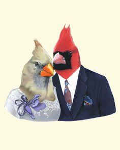 Etsy の Mr and Mrs Cardinal art print 8x10 by berkleyillustration