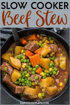 For a simple, easy to prepare dinner that is hearty and delicious you can't beat Slow Cooker Beef Stew! Easy and fast prep in the morning with your slow cooker will provide a delicious and classic meal ready by dinnertime. Hamburger Crockpot Recipes, Easy Chicken Recipes, Beef Recipes, Crockpot Dishes, Crockpot Meals, Cooker Recipes, Healthy Recipes, Slow Cook Pork Chops, New Recipes For Dinner