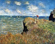 claude monet the cliff walk at pourville 1882
