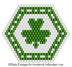 3 patterns for brick stitched pins for St. Patrick's Day