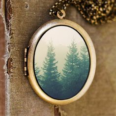Going The Distance - Evergreen Trees Nature Landscape Grande Photo Locket Necklace