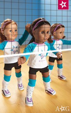 She's geared up and in position to play! This seven-piece set includes:  • A jersey with a volleyball graphic • Shorts with a star graphic • Socks with star print • Knee pads • Shoes with elastic laces • A purple headband • A volleyball with star graphic
