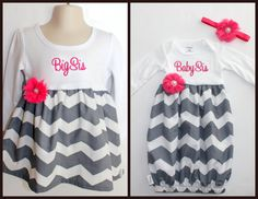 Big Sister Little Sister Outfit Girls by ThePinkRoseBoutique