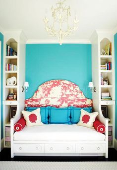 massucco warner miller toile upholstered headboard bed daybed built in white tole chandelier faux bamboo turquoise painted wall