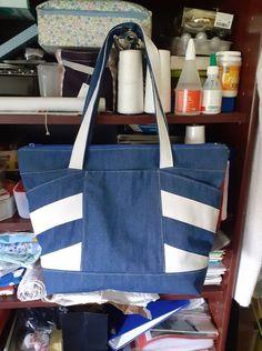 Sac Biguine bleu et blanc cousu par Elisabeth - Patron Sacôtin
