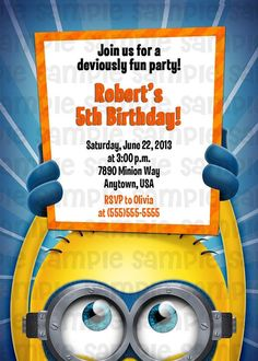 Despicable Me Minion Birthday Invitation  by PinkTurtleShop, $11.00