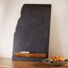 natural slate blackboard with teak tray soapstone chalk vivaterra