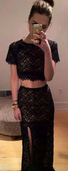 Free shipping high neck short sleeve high side slit long sexy black lace party dress evening dress 2014 two piece prom dresses