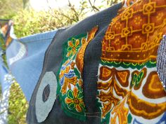our 1km of decorated denim out in the garden from 1st one in aid of Jeans for Genes