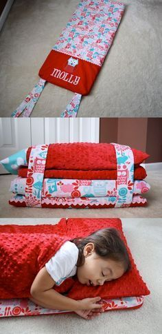 Adorable nap map tutorial. Cute, cozy, compact nap mat using minky fabric. Some pre-schools or kindergarten children still have nap time. Nice take-along to stay with auntie or grandma.