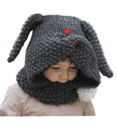 27428ac1820 Superora Kids Girl s Warm Winter Knitted Hood Beanie Hat Cape Poncho Neck  Wrap Scarf Shawl Set Adjustable Cute Adorable Anima Toddlers Accessory Grey  Order ...