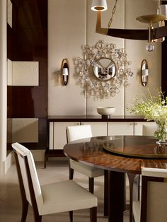 Baker Furniture | Thomas Pheasant new colletion  Blossom Mirror Arcade Dining table Atelier Dining Chair Le Loop Sconce Moderne Chandelier
