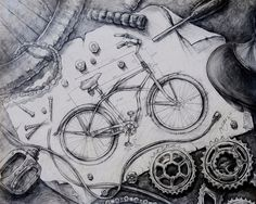 Before RISD - Drawings, Paintings, and Mixed Media by Jacqueline Zhao, via Behance Ap Drawing, Teaching Drawing, Bike Drawing, Teaching Art, Painting Lessons, Art Lessons, Illustrations, Illustration Art, Caricature
