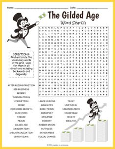 GILDED AGE Word Search Puzzle Worksheet Activity by Puzzles to Print History For Kids, Us History, Number Puzzles, Gilded Age, Fun Activities For Kids, Vocabulary Words, Your Teacher, Student Learning, Word Search