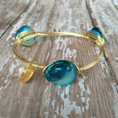 Blue Shell Wire Wrapped Bangle by CYPJewelry on Etsy
