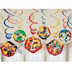Power Rangers Dino Charge Swirl Decorations Hanging Birthday Party Supplies Boys