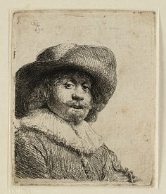 A Portrait of a Man with a Broad Brimmed Hat and a Ruff by Rembrandt Van Rijn Rembrandt Etchings, Rembrandt Drawings, Drawing Sketches, Art Drawings, Baroque Painting, Leiden, Figure Sketching, Dutch Painters, Dutch Artists
